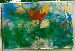 Watercolour_oil pastel. Abstract