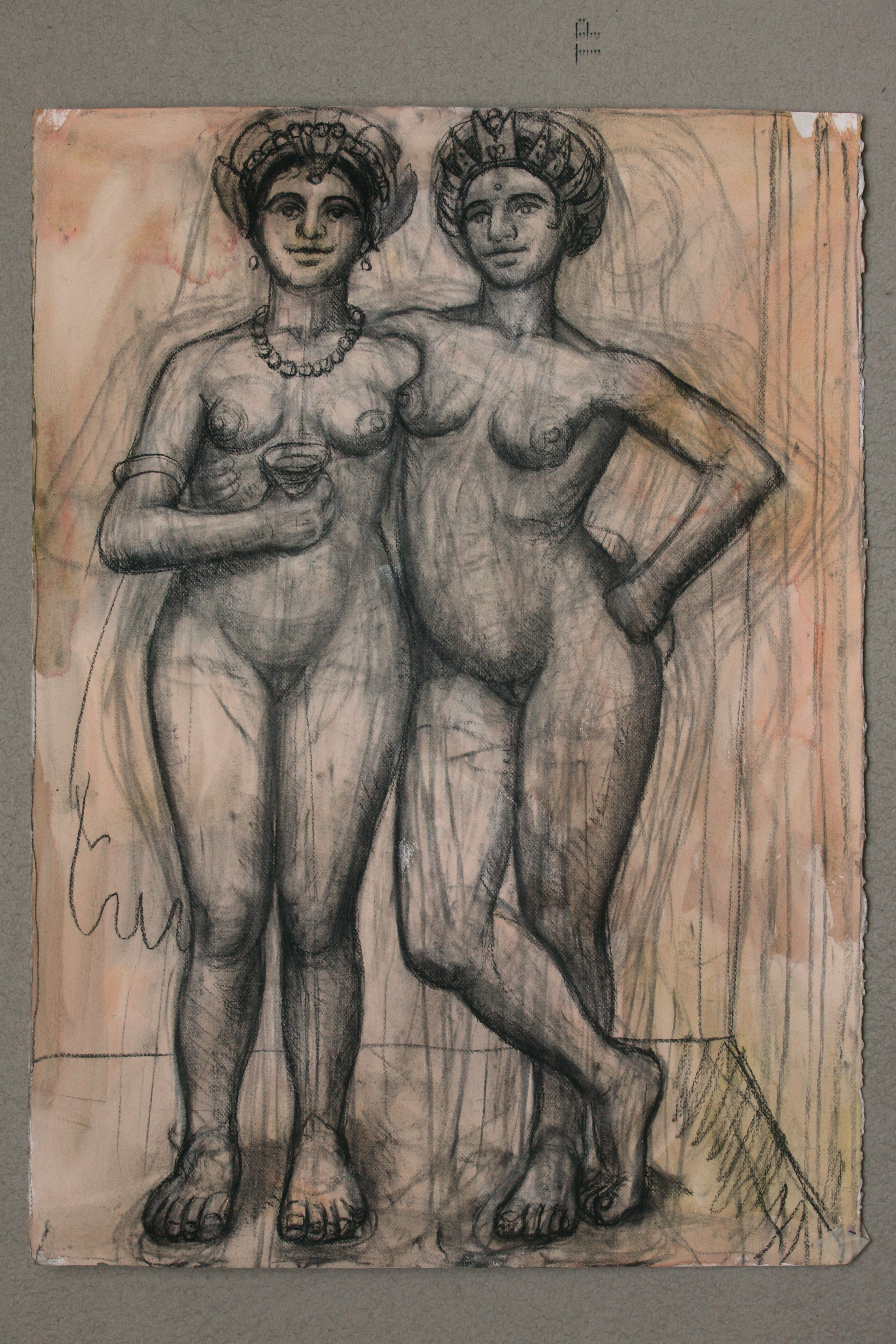 Charcoal and Watercolour on Paper. Pair of Girls_