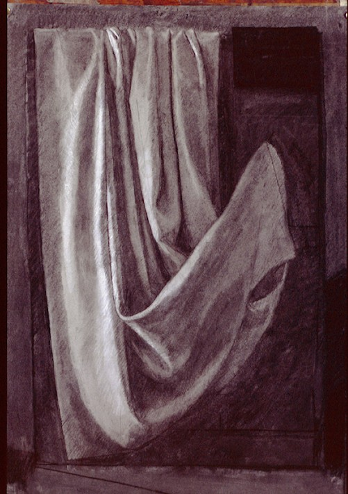 Charcoal On Paper. Drapery