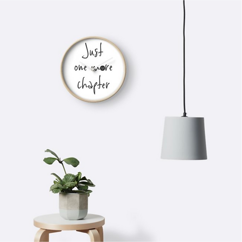 Clock - Just one more chapter, white with charcoal text, bamboo frame