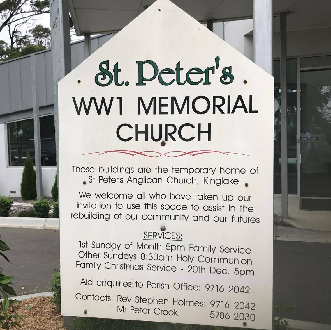 St Peter's WW1 Memorial Church sign