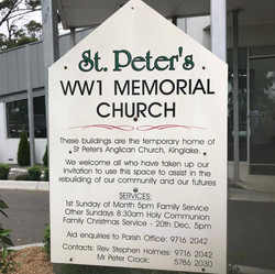 St Peter's WW1 Memorial Church sign
