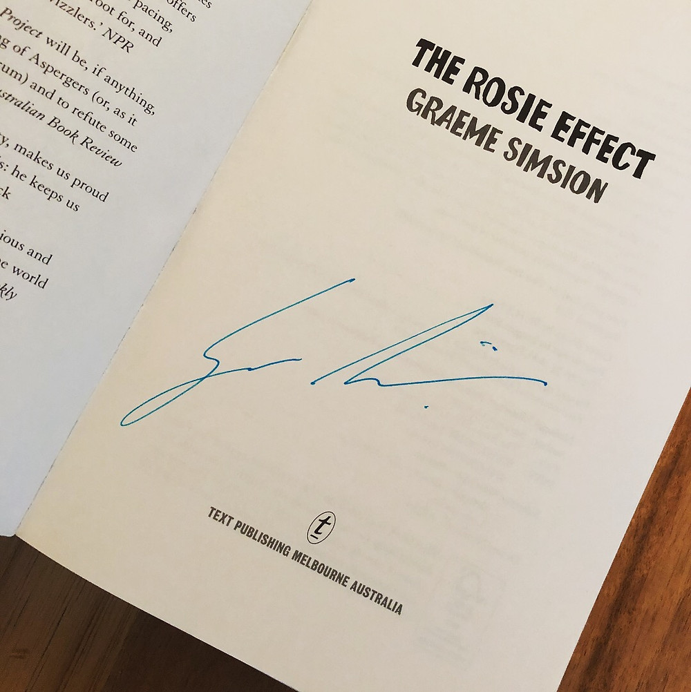 Inside signed page of The Rosie Effect by Graeme Simsion