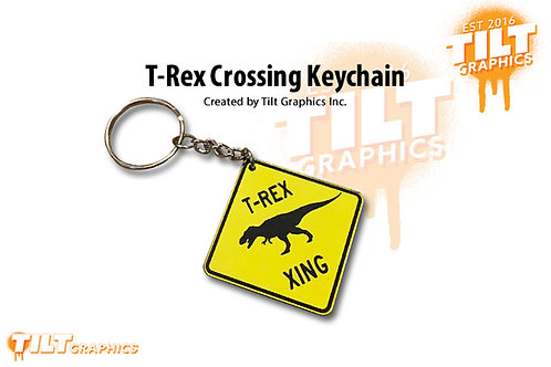 T-Rex Crossing Custom Keychain