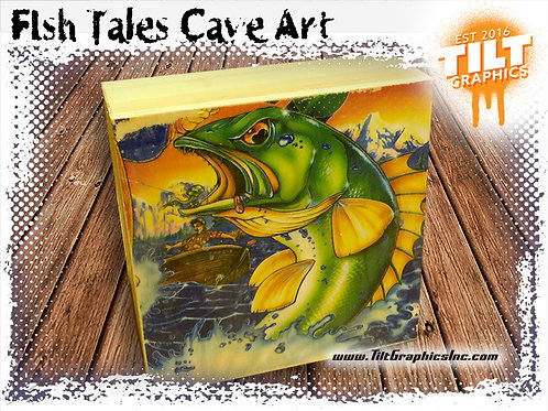 "Fish Tales Cave Art: 4""x4"""