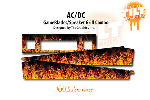 AC/DC: Flames Speaker Grill & GameBlades Combo