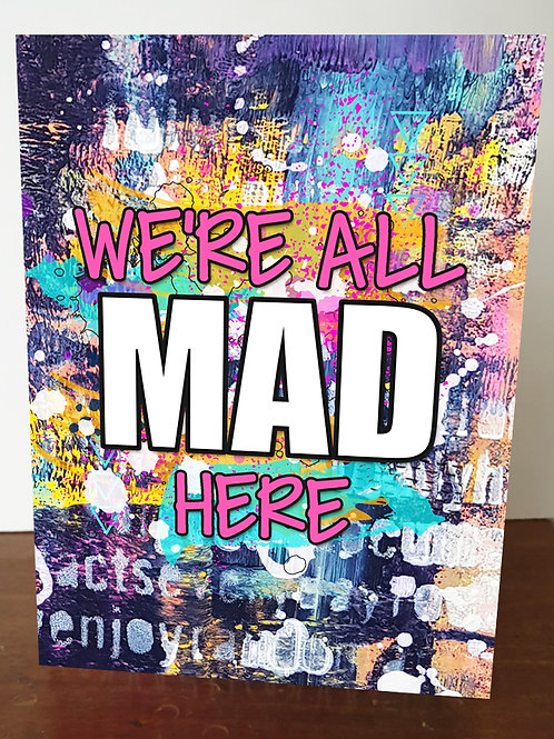 `We're All Mad Here' A5 Book Cover