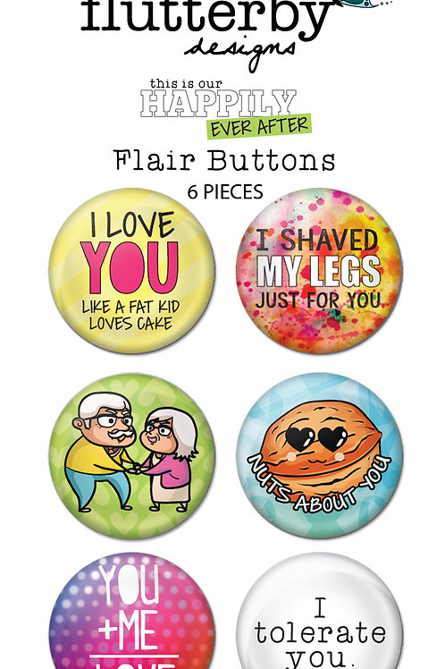 'Happily Ever After' FLAIR BUTTONS Set 2