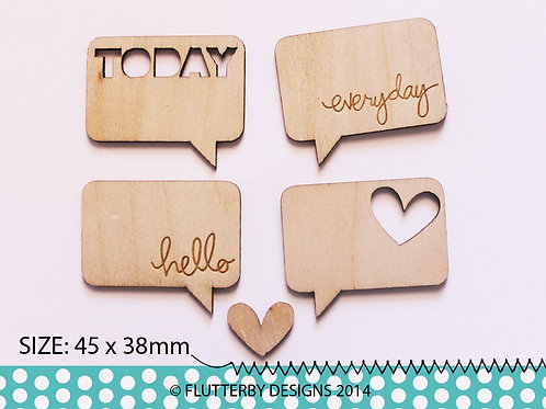 'Word Speech Bubbles' Wood Veneer