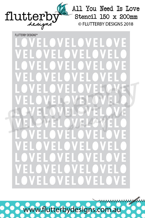 'All You Need Is Love' Stencil 150 x 200mm