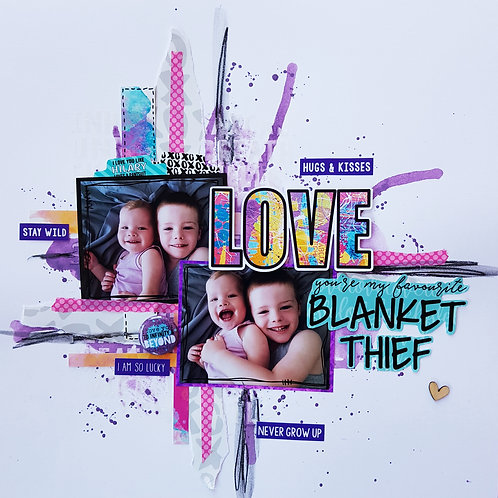 LAYOUT KIT - 'BLANKET THIEF' inspired by Sue Plumb