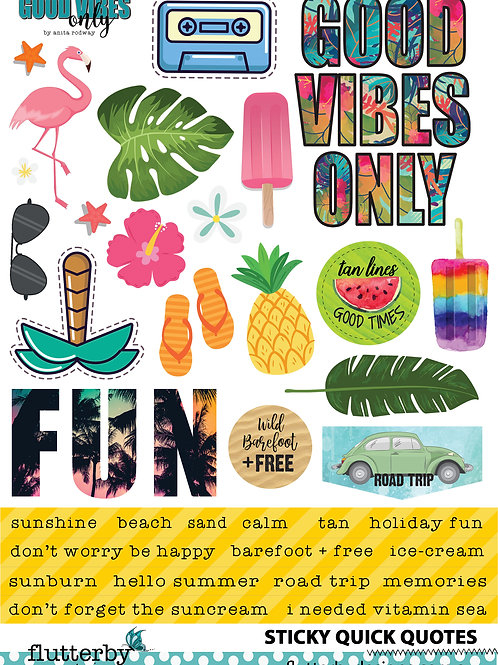 'Good Vibes Only' Sticky Quotes