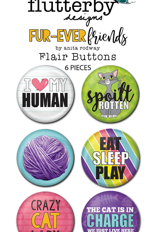 'FUR-EVER FRIENDS - CAT' FLAIR BUTTONS