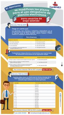 Se modifican los plazos para el uso obligatorio de planilla electrónica para usuarios