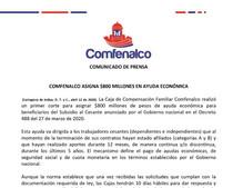 COMFENALCO ASIGNA $800 MILLONES EN AYUDA ECONÓMICA