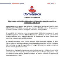 COMFENALCO DESTINA $13.000 MILLONES EN SUBSIDIO A CESANTES DURANTE LA EMERGENCIA ECONÓMICA