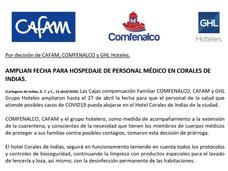 COMFENALCO, CAFAM y GHL Grupo Hoteles, amplían fecha para hospedaje de personal médico en Corales de