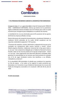 7.731 PERSONAS RECIBIERON SUBSIDIO AL DESEMPLEO POR EMERGENCIA