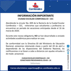 Información Importante Ciudad Escolar Comfenalco