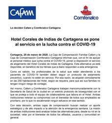 Hotel Corales de Indias de Cartagena se pone al servicio en la lucha contra el COVID-19