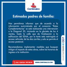 Información importante para padres de familia de Ciudad Escolar Comfenalco