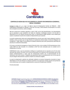 COMFENALCO ASIGNA 86,4% DE LOS SUBSIDIOS AL CESANTE POR EMERGENCIA ECONÓMICA, SOCIAL Y ECOLÓGICA