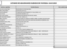 Listado de asignados Subsidios de Vivienda Julio 2019