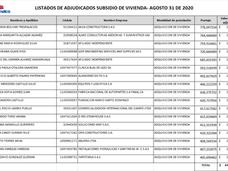 Listado de asignados Subsidios de Vivienda - Tercera adjudicación