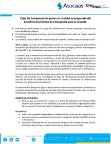 Cajas de Compensación ponen su propuesta del Beneficio Económico de Emergencia para al Cesante