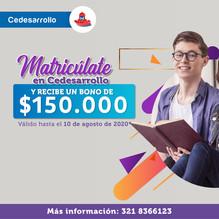 CEDESARROLLO LANZA ALIVIO PARA MATRICULAS DEL SEGUNDO SEMESTRE
