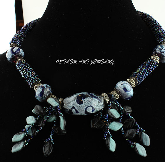 Handmade Flameworked glass beads, silver beads and toggle necklace