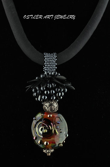 Handmade, flameworked glass bead, beaded bead accent on a silk cord necklace