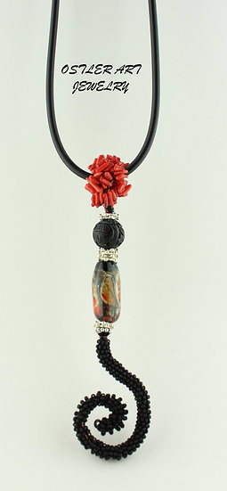 Handmade flameworked glass bead, coral and black seed bead necklace