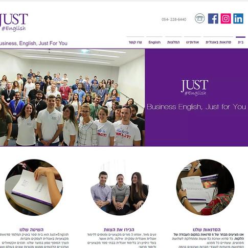 JUST ENGLISH אתר לבית ספר ללימוד אנגלית