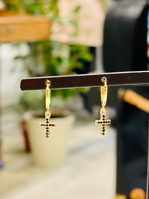 Mini créoles croix