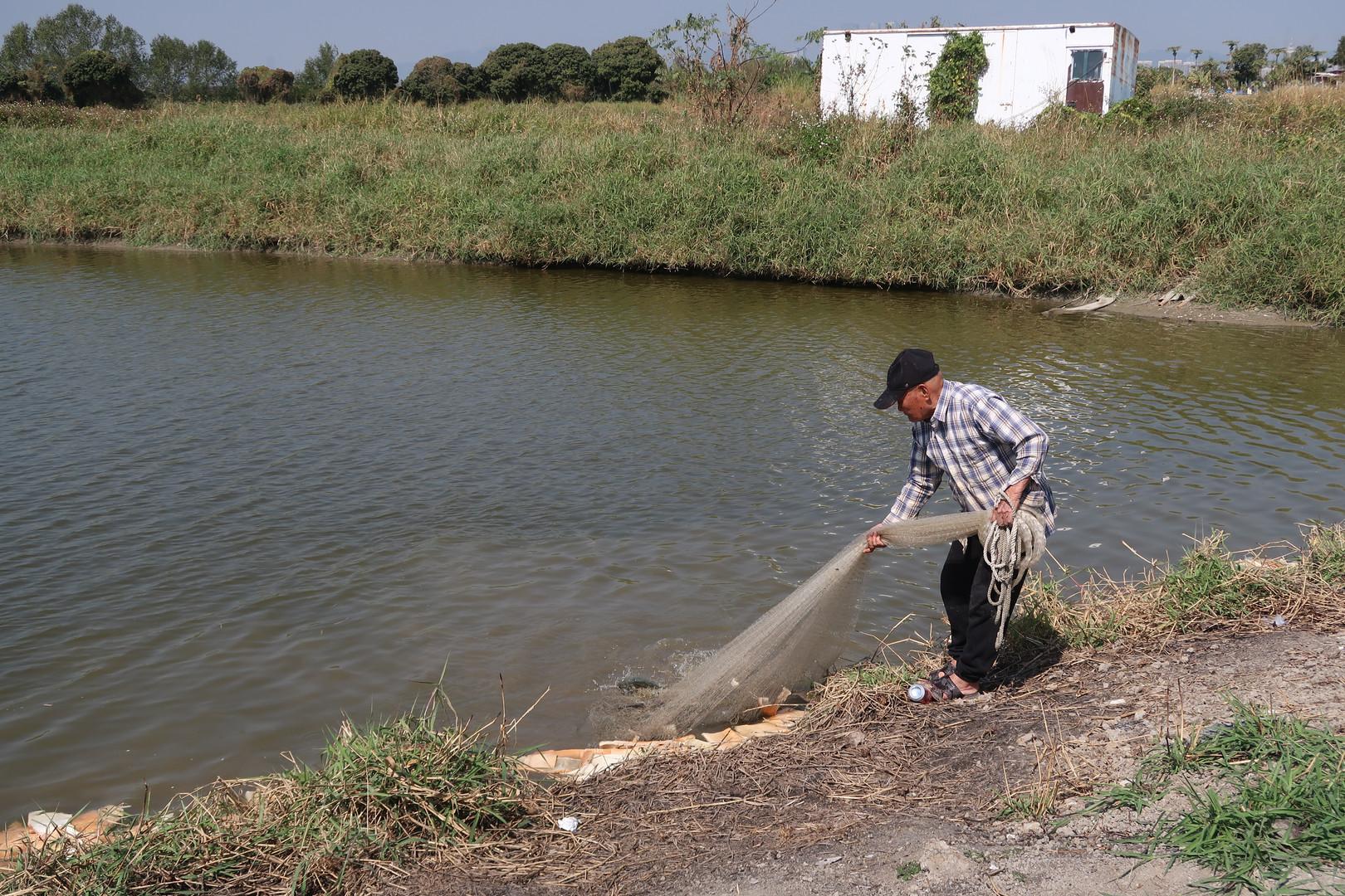 漁民根叔進行網魚