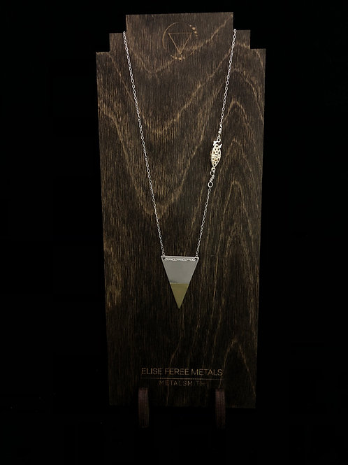 Silver married to brass triangle necklace