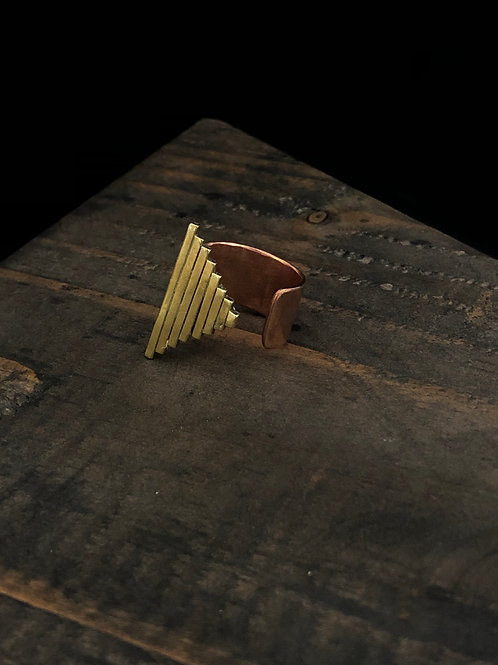 triangle pillar ring made of copper and brass