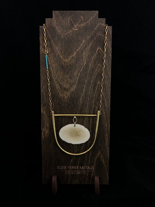 Elkhorn necklace with turquoise accented beads on chain