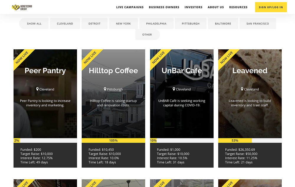 Honeycomb Credit's updated explore page with live Honeycomb campaigns