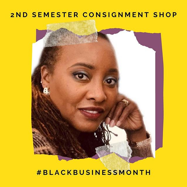 A graphic with a headshot of Monica Grays, owner of 2nd Semester Consignment Shop
