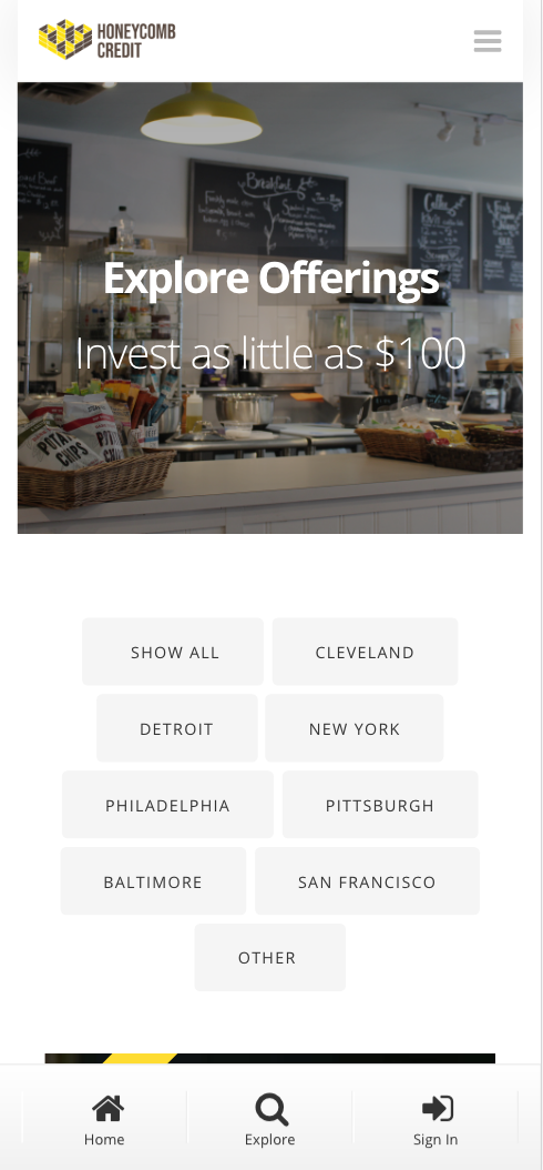 An example of the new theme redesign of Honeycomb Credit's interface on mobile
