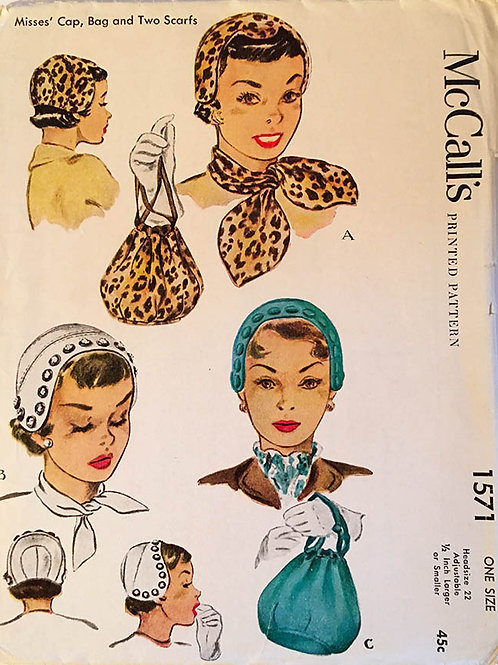 McCall 1571; ©1950;  Cap, Bag and Two Scarfs