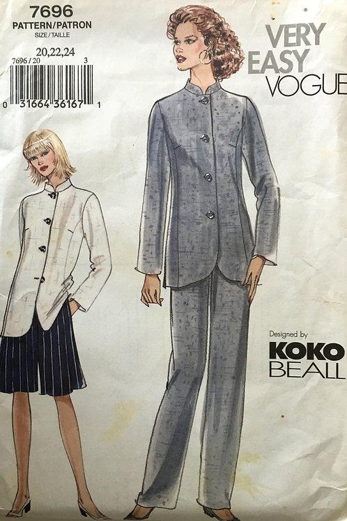 Vogue 7696 Koko Beall mandarin jacket and pants, Plus Size