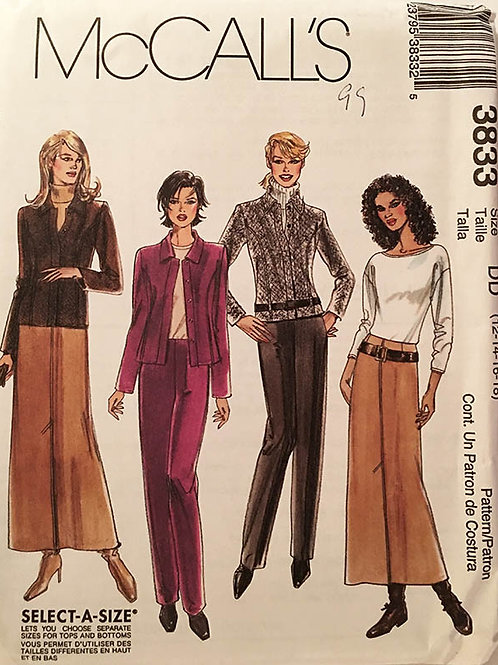McCall's 3833. Casual jacket, Longer skirt and tailored pants