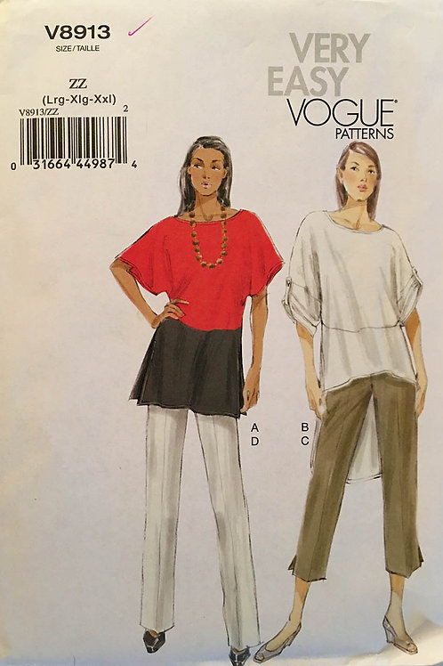Vogue 8913. Dolman sleeve Tunic and Tapered Pants