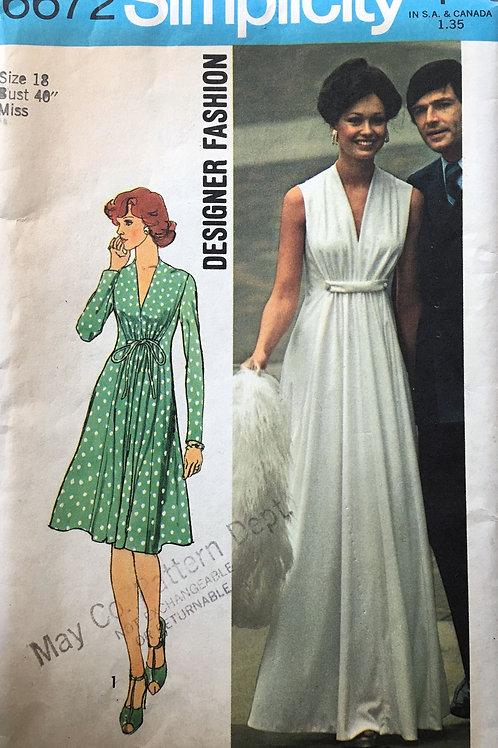 Simplicity 6672 wrap dress 1970s