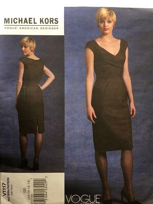 Vogue 1117 Michael Kors drape front dress