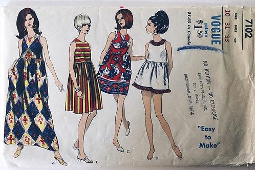 Vogue 7102 retro 60s baby doll dress