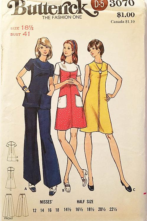 Butterick 3070.Totally retro 1970s dress/tunic